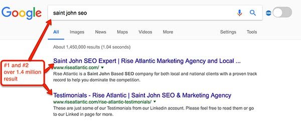 Image of google results for seo saint john new brunswick