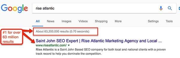Rise Atlantic Serp Results in google