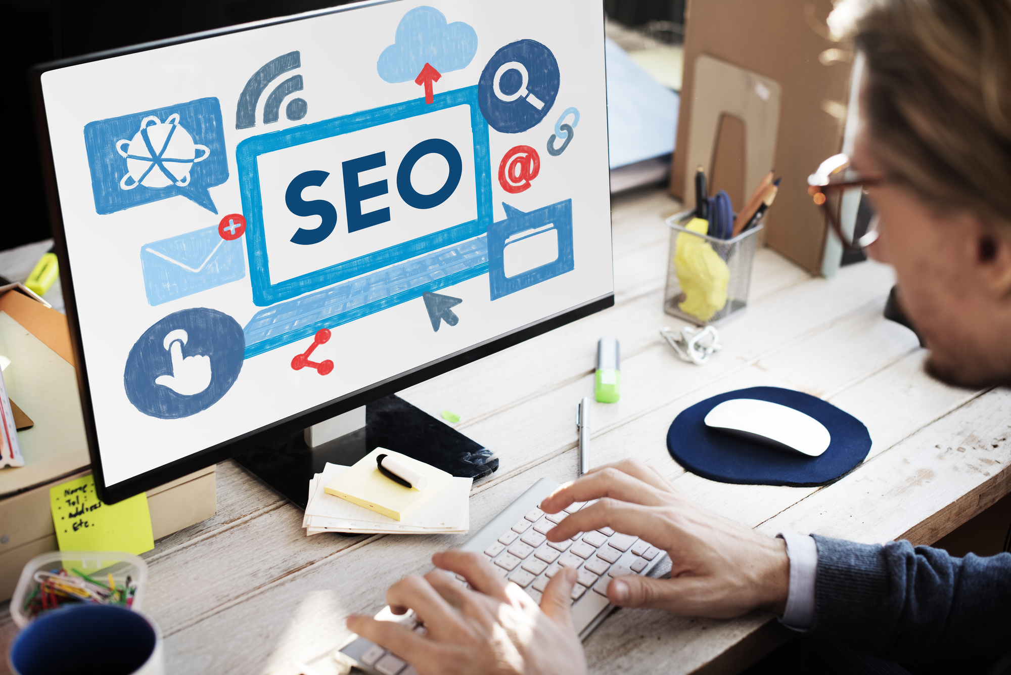Magnifying glass over SEO Fredericton